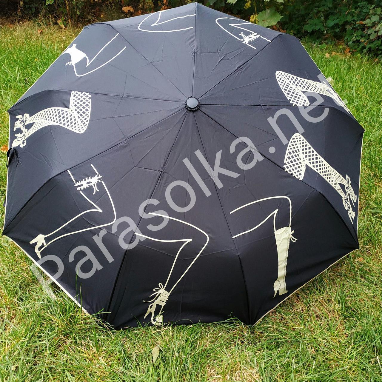 Зонт женский черный с рисунком арт.707-12