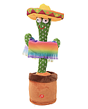 Танцующий плюшевый кактус со шляпой Мягкая музыкальная интерактивная игрушка кактус в горшке в вазоне, фото 2