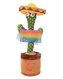 Танцюючий плюшевий кактус з капелюхом М'яка музична, інтерактивна іграшка кактус у горщику в вазоні, фото 2