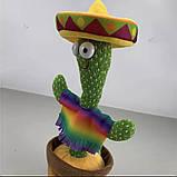 Танцующий плюшевый кактус со шляпой Мягкая музыкальная интерактивная игрушка кактус в горшке в вазоне, фото 3