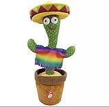Танцующий плюшевый кактус со шляпой Мягкая музыкальная интерактивная игрушка кактус в горшке в вазоне, фото 5