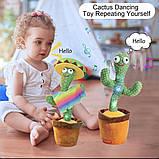 Танцующий плюшевый кактус со шляпой Мягкая музыкальная интерактивная игрушка кактус в горшке в вазоне, фото 6