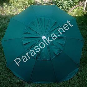Пляжний зонт Зелений темний брезентовий на 10 спиць 2,1 метра