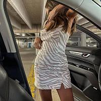 Силуэтное платье в необычную расцветку с разрезом на ноге (р.S-M) 83mpl2921, фото 1