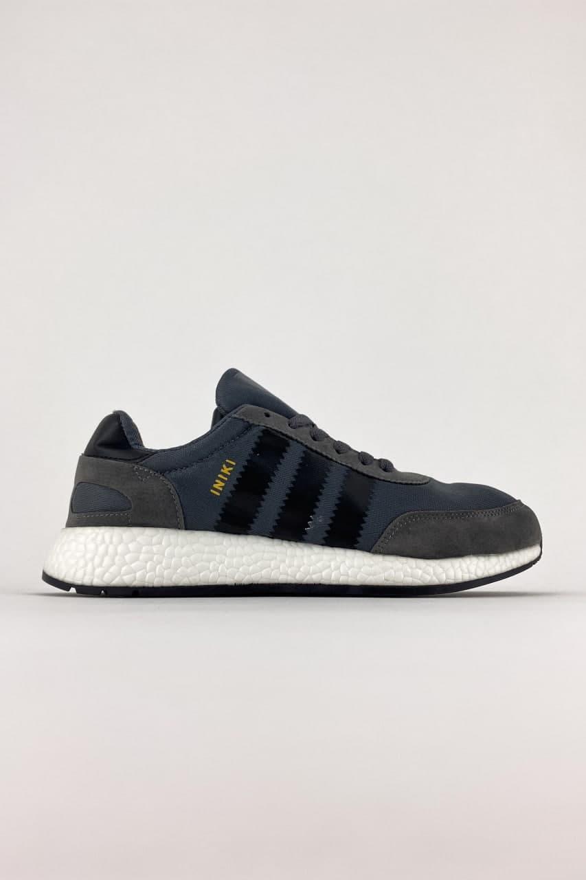 Мужские кроссовки Adidas Iniki Black White (Серый) C-3528 легкие дышащие замшевые кроссы