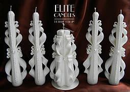 Свічки на весілля, різьблені ручної роботи, білого кольору