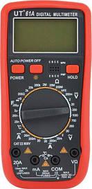 Цифровой мультиметр тестер   UT 61A со щупами и кроной в комплектк мультиметр с кроной