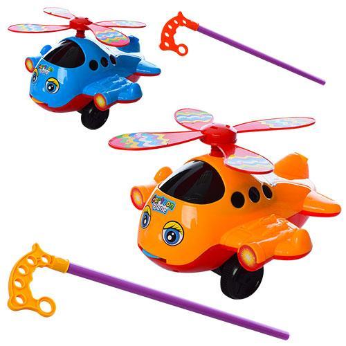 Каталка 8500 (72шт) на палиці 38см, вертолет20см,звук,вращ.гвинт,показ.мова,2цв,в кульку, 20-20-13см