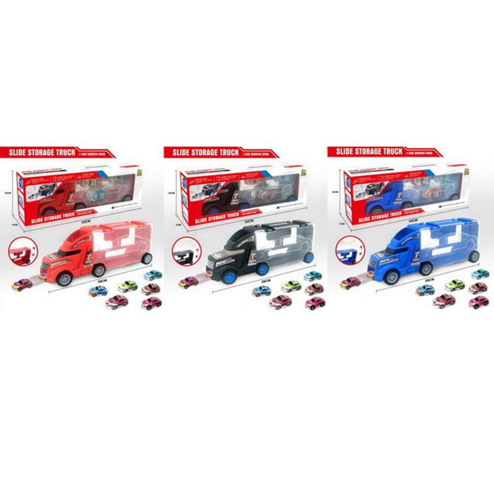 Трейлер 668-1-2-3 (48шт) 28см, машинки(небиткий корпус) 6шт, 5см, 3 кольори, в кор-ке, 33-12-7см
