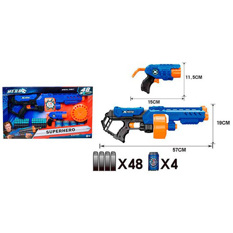 Набір з зброєю BT6047 (8шт) автомат56см,пістолет,м'які кулі 48шт,мішень(банку) 4шт,в кор,63-39-7см