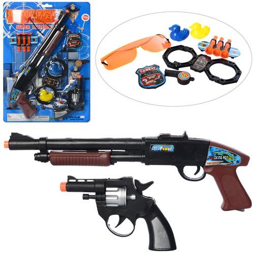 Набор полицейского 520-12 (72шт) пистолет 2шт, присоски 3шт,наручники,очки,на листе, 28,5-42,5-3см