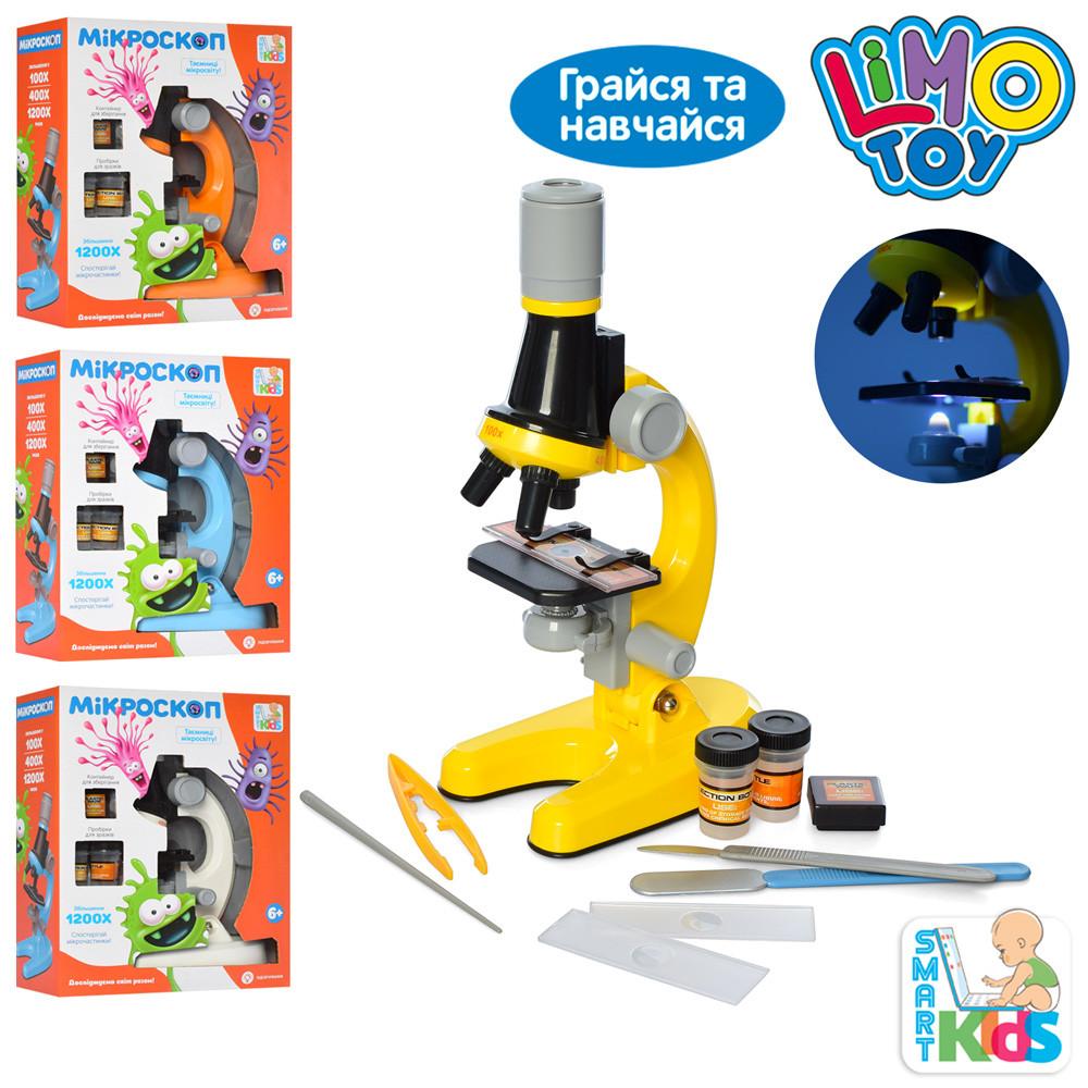 Микроскоп SK 0026 ABCD (24шт) 21см,пробирки,стекла,инструм,свет,4цв,на бат-ке,в кор-ке,19,5-24-8,5см
