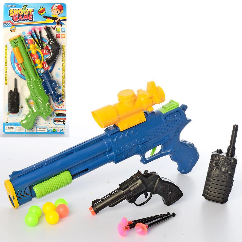 Набор с оружием 336-10A (48шт) пистолет 2шт, присоски, рация,микс цветов, на листе, 48-24-3см