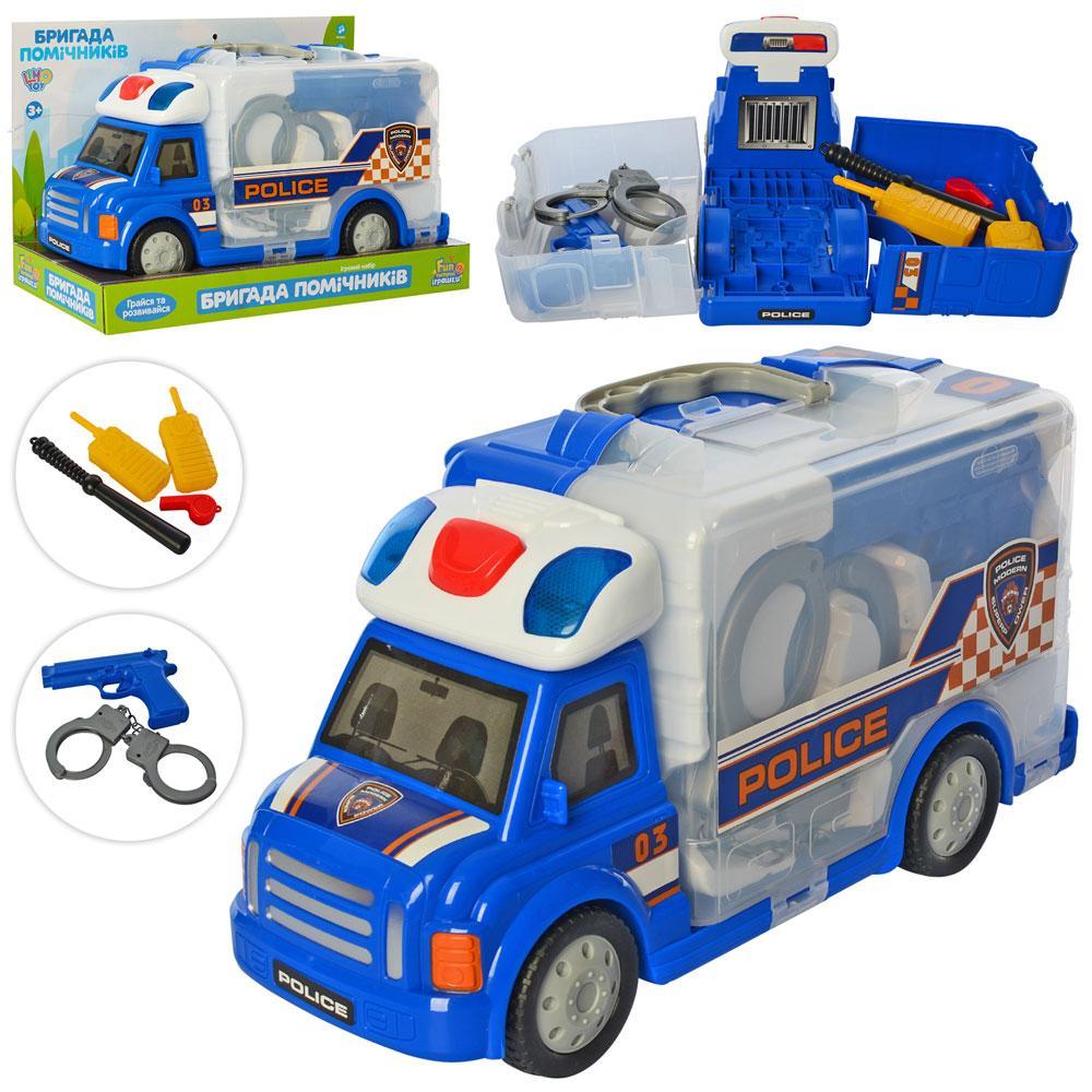 Машинка М 5530 (18шт) полиция33,5см, наручн.пистолет, рация,св,зв,на бат(таб),в кор-ке,36-23-14,5см