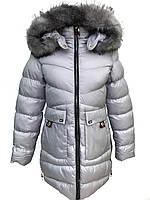 Зимняя куртка-пальто для девочки 140-164 серое (Польша)