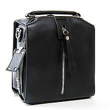 Кожаный рюкзак черный. Женская сумка портфель. Сумка-рюкзак. С236