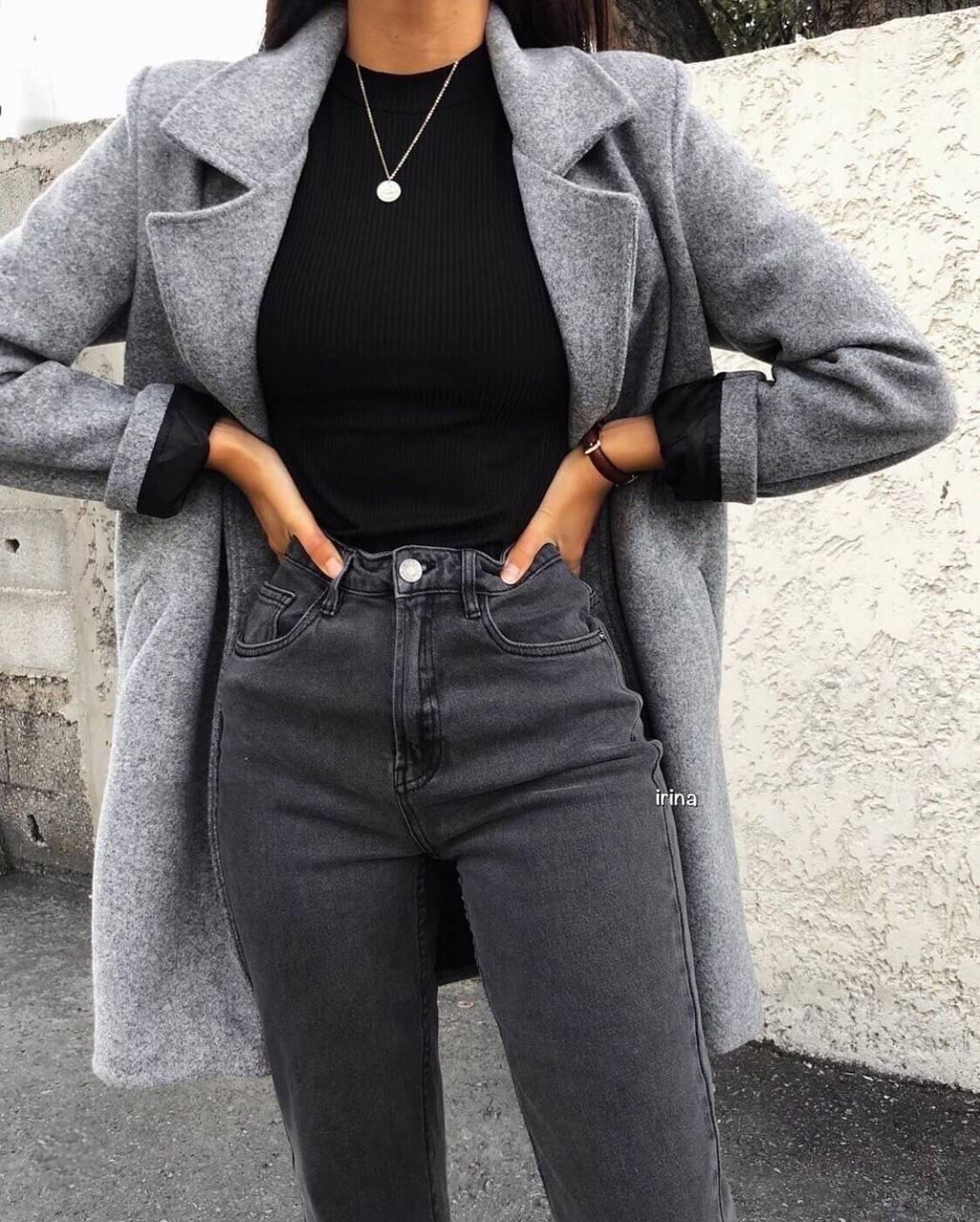 Пальто жіноче, кашемір на підкладці, р-р S-M; M-L (сірий)