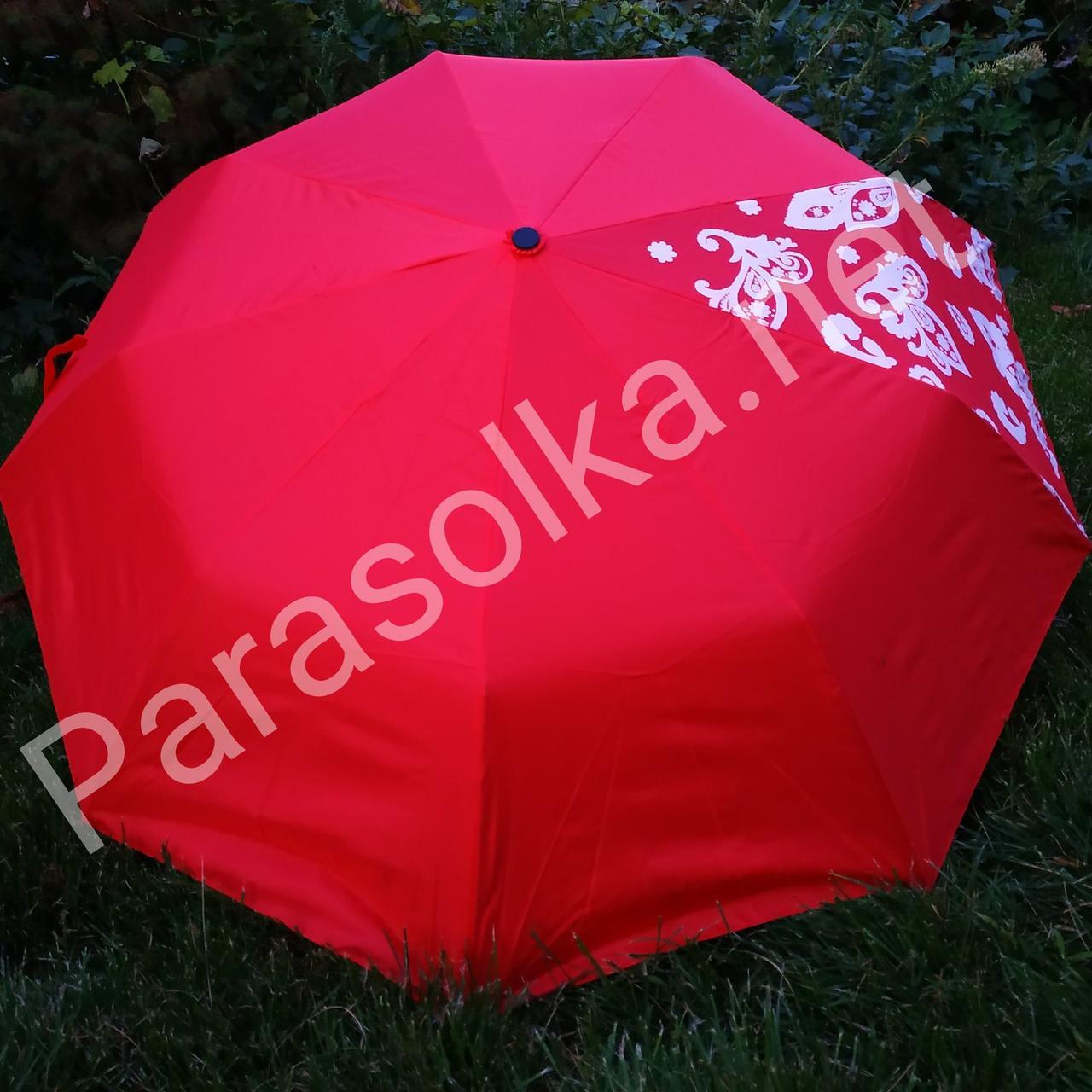 Зонт жіночий червоний однотонний з розписом арт.707g - 2a