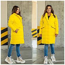 Стильное женское батальное стеганное пальто с большими карманами (р. 48-62).