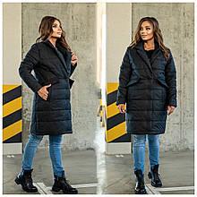 Стильное женское батальное стеганное пальто с большими карманами (р. 48-62). черный