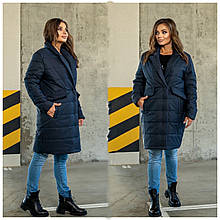 Стильное женское батальное стеганное пальто с большими карманами (р. 48-62). синий