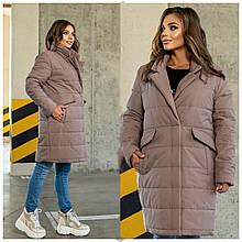 Стильное женское батальное стеганное пальто с большими карманами (р. 48-62). мокко