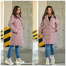 Стильное женское батальное стеганное пальто с большими карманами (р. 48-62). пудра