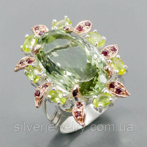 Серебряное кольцо с ПРАЗИОЛИТОМ (зеленый аметист), серебро 925 пр. Размер 18,75