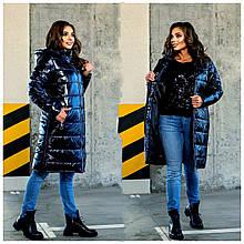 Стеганное утепленное женское батальное пальто с капюшоном и на молнии(р. 48-62). синий