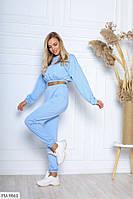 Молодіжний стильний спортивний костюм жіночий кроп-топ з довгим рукавом і високі штани арт 5003, фото 1