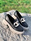 Туфли лоферы Simon черные + капучино 4321, фото 3