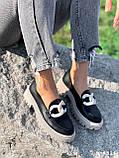 Туфли лоферы Simon черные + капучино 4321, фото 5