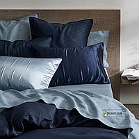 Двустороннее постельное белье из вареного хлопка Голубой и Синий с простыней на резинке