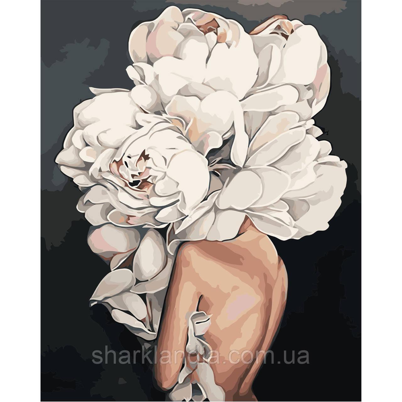 Картина по Номерам Девушка-цветок 40х50см Strateg в коробке Эми Джадд Пионы
