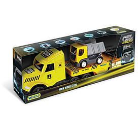 Грузовик с грузовиком Wader Magic Truck Technic желтый с серым (36420)
