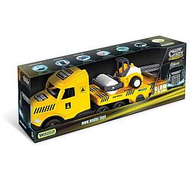 Грузовик с катком Wader Magic Truck Technic желтый с черным (36450)