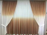 Готовый Комплект тюль и шторы на 3-х метровый карниз Шифон-растяжка Омбре Карнавал Градиент  Сиреневого цвета, фото 9