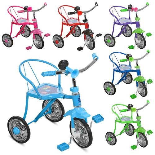 Велосипед LH-701-2 LASER (6шт)3кол,хром,6 цв:красн,желт,зел,гол,оранж,фиол,клаксон,51-52-40см