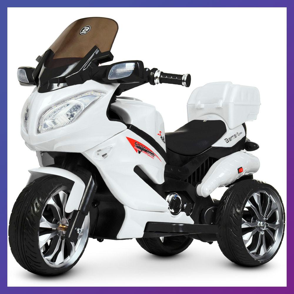 Детский электро мотоцикл на аккумуляторе Suzuki M 4204 для детей 3-8 лет EVA колеса белый