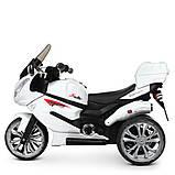 Детский электро мотоцикл на аккумуляторе Suzuki M 4204 для детей 3-8 лет EVA колеса белый, фото 8