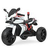 Детский электро мотоцикл на аккумуляторе BMW M 4635 для детей 3-8 лет EVA колеса белый, фото 2