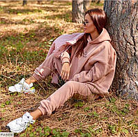 Теплий спортивний костюм жіночий вільного крою худі з капюшоном та штани арт 1007, фото 1
