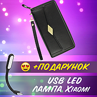 Женский кошелек клатч Wallerry TQ100A на молнии Черный Экокожа Женское портмоне+ USB лампа
