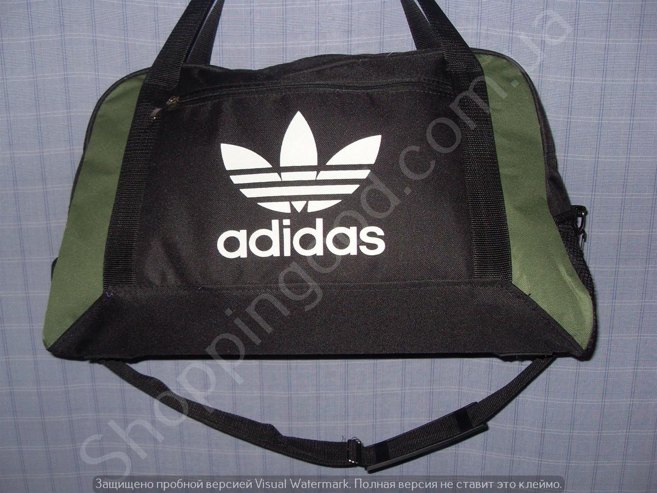 65b266a699e3 Багажная сумка Adidas 013678 большая (55х33х22, см) черная с зеленым  спортивная дорожная текстиль