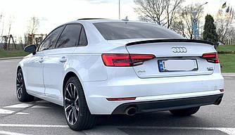 Спойлер Audi A4 B9 тюнинг сабля стиль S4 (пластик, черный глянц)