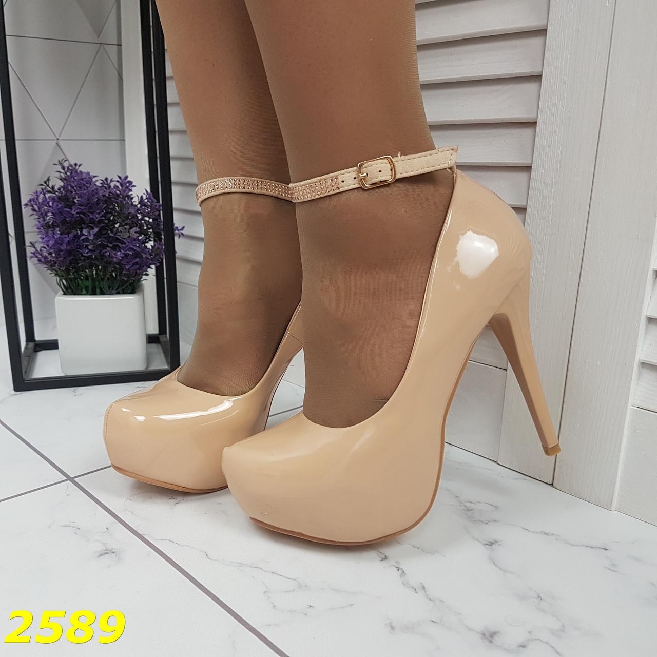 Туфли с застежкой ремешком на шпильке с платформой бежевые