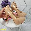 Туфли с застежкой ремешком на шпильке с платформой бежевые, фото 7