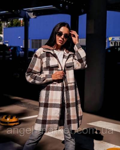 Женская теплая модная рубашка в клетку с капюшоном новинка 2021