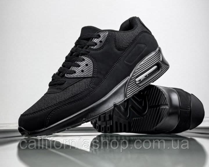 Мужские кроссовки черные нубук текстиль демисезонные