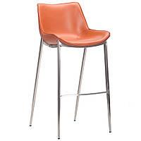 Барний стілець лофт AMF Blanc caramel leather нержавіюча сталь шкіра натуральна